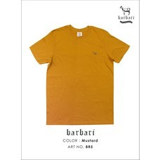 Barbari เสื้อยืดคอวี Premium Cotton 100%  ใส่ได้ทั้งผู้ชายผู้หญิง สีมัสตาร์ด (BV5)