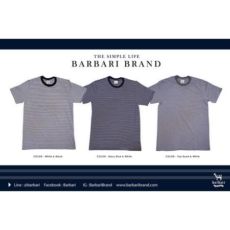 Barbari เสื้อยืดคอกลมลายริ้ว Premium Cotton 100% ใส่ได้ทั้งผู้ชายผู้หญิง ( BBS1 )