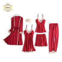 Wolfox เซ็ตชุดนอนผ้าซาติน 5 ชิ้น รุ่น Deluxe สีแดง