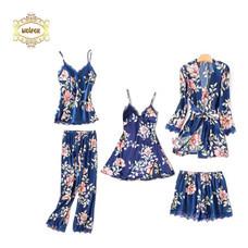 Wolfox เซ็ตชุดนอนผ้าซาติน 5 ชิ้น รุ่น Blossom สีน้ำเงิน