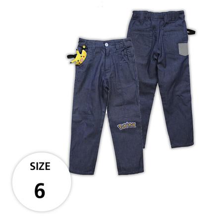 กางเกงผ้ายีนส์บางขายาว มีพิคาชูที่กระเป๋าด้านหน้า TPM160-01 /S6