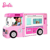 Barbie DreamCamper Vehicle with Pool, Truck, Boat and 60 Accessories รถบ้านตุ๊กตาบาร์บี้ 3-in-1 GHL93