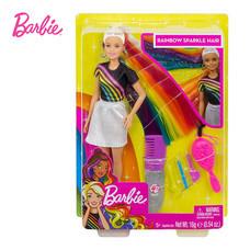 Barbie Rainbow Sparkle Hair Doll ตุ๊กตาบาร์บี้ ทำผมสีรุ้ง FXN96