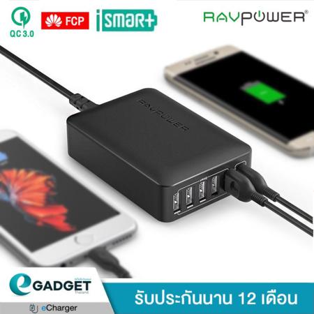 Adapter Ravpower QC3.0 1Port +iSmart 5Port 60w (6Port) รุ่น RP-PC029 (อะแดปเตอร์ หัวชาร์จ)