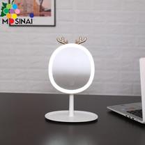 Mosinai กระจกแต่งหน้า LED Makeup Mirror พร้อมถาดใส่ของ ถอดออกได้ รูปร่างเขากวาง ปรับความสว่างได้3ระดับ ปรับองศาได้ กระจกไฟLED Desktop Makeup Mirror