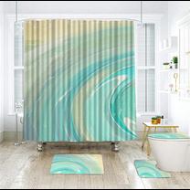 Mosinai ชุดม่านห้องน้ำ ม่านPolyester ขนาด 180x180 ซม. ผ้าม่านห้องน้ำ ม่านกันน้ำ  กันสายตา กันน้ำ กันเชื้อรา ไร้กลิ่นอับ สำหรับแบ่งพื้นที่โซนเปียก
