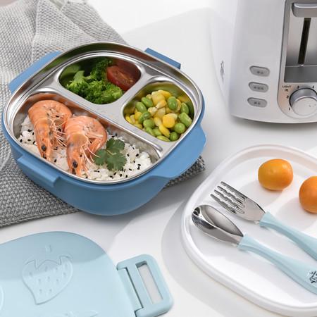 กล่องอาหารกลางวัน 3 ช่อง อุ่นอาหารได้ พร้อมกล่องใส่ซุปและช้อนในตัว