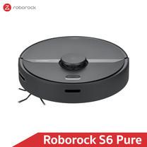 หุ่นยนต์ดูดฝุ่นถูพื้น อัจฉริยะ Roborock S6 Pure สีดำ (Black Color) - Robotic Vacuum and Mop Cleaner (Global Version)