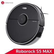 หุ่นยนต์ดูดฝุ่นถูพื้น อัจฉริยะ Roborock S5 Max สีดำ (Black Color) - Robotic Vacuum and Mop Cleaner [Global Version]