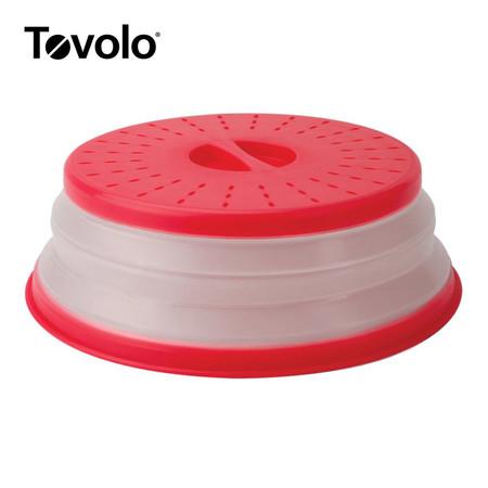 Tovolo ฝาปิดครอบไมโครเวฟพับเก็บได้ - สีแดง