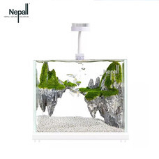 Nepall small desktop goldfish aquarium fish tank living room ตู้ปลาจำลองระบบนิเวศน์ในน้ำพร้อมหินตกแต่งตู้ปลาและเครื่องกรองน้ำขนาด 18 เซนติเมตร