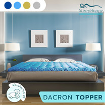 SleepHappy Fluffy Topper ที่รองที่นอน ท็อปเปอร์ Dacron Hybrid เพื่อสุขภาพ สีฟ้า (หนา 3 นิ้ว) 5ฟุต ส่งฟรี