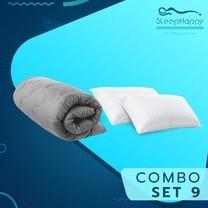 SleepHappy COMBO SET 9 ที่รองที่นอน ท็อปเปอร์สี Dacron Hybrid สีเทา (หนา 3 นิ้ว) + หมอนไมโครไฟเบอร์ (1200 gsm.) 3.5ฟุต ส่งฟรี