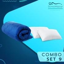 SleepHappy COMBO SET 9 ที่รองที่นอน ท็อปเปอร์สี Dacron Hybrid สีน้ำเงิน (หนา 3 นิ้ว) + หมอนไมโครไฟเบอร์ (1200 gsm.) 3.5ฟุต ส่งฟรี