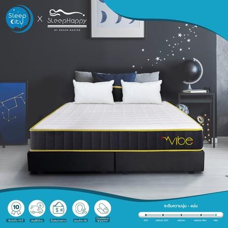 SleepHappy รุ่น Vibe 6 ฟุต (แน่น) ที่นอนพ็อกเก็ตสปริงในกล่อง ที่นอนเพื่อสุขภาพ หนา10นิ้ว