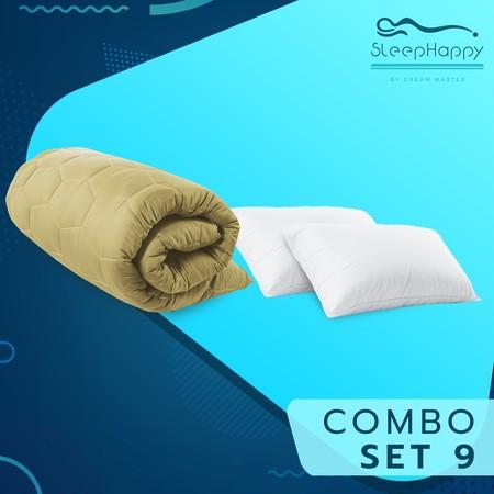SleepHappy COMBO SET 9 ที่รองที่นอน ท็อปเปอร์สี Dacron Hybrid สีทอง (หนา 3 นิ้ว) + หมอนไมโครไฟเบอร์ (1200 gsm.) 6ฟุต ส่งฟรี
