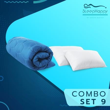 SleepHappy COMBO SET 9 ที่รองที่นอน ท็อปเปอร์สี Dacron Hybrid สีฟ้า (หนา 3 นิ้ว) + หมอนไมโครไฟเบอร์ (1200 gsm.) 5ฟุต ส่งฟรี