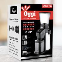 เครื่องบดกาแฟอัตโนมัติ ยี่ห้อ Oggi รุ่น CG3 เฟืองบดทรงกรวย (Automatic Coffee Grinder Burr Grinder type, Oggi brand, shipped from Thailand with warrantee, spare parts and after sale service by Oggi Club)