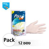 โพลี-ไบรท์ ถุงมือยางอนามัย (Food Safe) รุ่น Extra Thin Size L 12 ซอง (10 ชิ้น/ซอง)