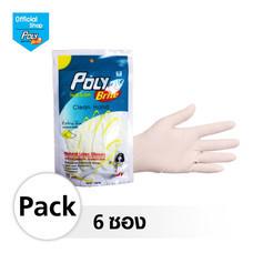 โพลี-ไบรท์ ถุงมือยางอนามัย (Food Safe) รุ่น Extra Thin Size L 6 ซอง (10 ชิ้น/ซอง)