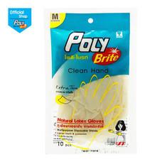 โพลี-ไบรท์ ถุงมือยางอนามัย (Food Safe) รุ่น Extra Thin Size M (10 ชิ้น/ซอง)