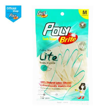 โพลี-ไบรท์ ถุงมือยางอนามัย รุ่น Extra Thin Lite Size M (10 ชิ้น/ซอง)