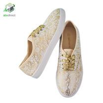 MIOMORI รองเท้าผ้าใบลายกราฟฟิคสีทอง