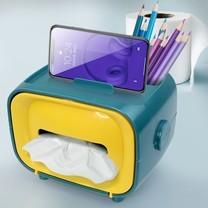 Telecorsa กล่องทิชชู่ กล่องใส่ทิชชู่ (วางโทรศัพท์ได้) รุ่น Tissue-box-mobile-holder-pencil-pen-stationary-00a-J1