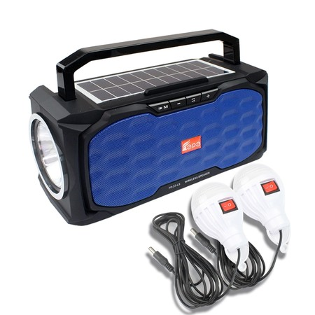 Telecorsa วิทยุพลังงานแสงอาทิตย์ วิทยุบลูทูธ FP-37-LS รุ่น Wireless-speaker-usb-am-fm-torchlight-subwoofer-fp-37-ls-08c-K3