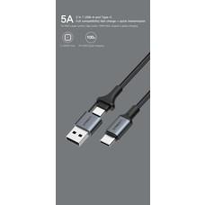 สาย Eloop S8 2-in-1 USB-A & Type C Super Fast Charge