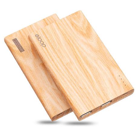 Eloop Powerbank รุ่น E12 11000 mAh สีลายไม้ / Wood แถมซอง สายชาร์จ
