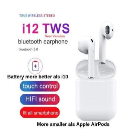 UEELR TWS I12  หูฟังไร้สาย บลูทูธ Bluetooth 5.0 เปิดและเชื่อมต่อ อัตโนมัติ เสียงดี เบสหนัก คุณภาพดี เชื่อมต่อง่าย