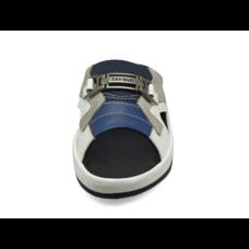 TAYWIN รองเท้าแตะเทวินทร์ รุ่น SKF-09 หนังนิ่มขาว-ฟ้า-กลับเทา-ผ้ากรมท่า