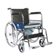 รถเข็นผู้ป่วย นั่งถ่าย กระโถน รถเข็นคนชรา รถเข็นผู้พิการ Wheelchair วิลแชร์ เหล็กชุบโครเมียม แบบพับได้ รุ่น609