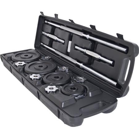 ดัมเบลและบาร์เบล สีดำ (BLACK) ปรับน้ำหนัก 50 กิโล พร้อมกล่อง ฟรี! ถุงมือ+สายรัดข้อมือ