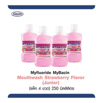 มายบาซิน จูเนียร์ น้ำยาบ้วนปาก กลิ่นสตรอเบอร์รี่ 250 มล. MyBacin Junior Strawberry 250ml (แพ็ก 4 ขวด)