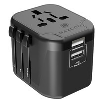 MAXCON Universal Adapter 2USB ยูนิเวอร์แซลอแดปเตอร์ แบบ USB 2 พอร์ต รุ่น JY-303B Black