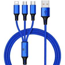 MAXCON สายชาร์จ 3IN1 Blue ชาร์จได้ทั้งแบบ Lighten, Micro USB และ Type C