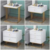 โต๊ะข้างเตียง ตู้ข้างเตียง ชั้นวางของข้างเตียง โต๊ะอเนกประสงค์ เฟอร์นิเจอร์ห้องนอน สีขาวลายหินอ่อนโครงสีทอง