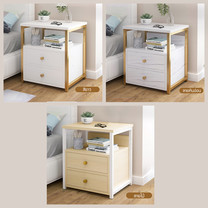 โต๊ะข้างเตียง ตู้ข้างเตียง ชั้นวางของข้างเตียง โต๊ะอเนกประสงค์ เฟอร์นิเจอร์ห้องนอน 2 ชั้น แบบ 2 ลิ้นชัก