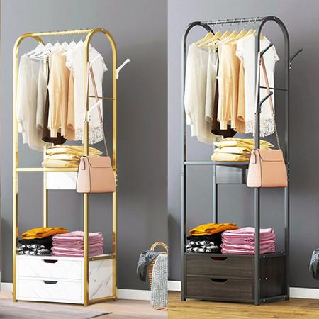 ราวแขวน ราวแขวนเสื้อผ้า ที่แขวน หมวก กระเป๋า พร้อมลิ้นชักเก็บของ 2 ชั้น สูง 170 cm