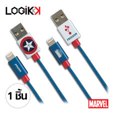 INFOTHINK, สายชาร์จ iPhone (Lightning Cable), ได้มาตรฐาน MFi, สายถัก, CAPTAIN AMERICA, ลิขสิทธิ์แท้จาก MARVEL STUDIOS