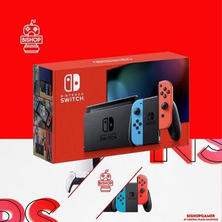เครื่องเกมส์ Nintendo Switch สีฟ้าแดง สีนีออน กล่องแดง รุ่นใหม่ แบตอึด V.2
