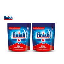 Finish ฟินิช ผลิตภัณฑ์ล้างจานชนิดก้อน สำหรับเครื่องล้างจาน 24ก้อน แพ็คคู่