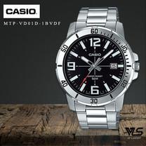 Velashop นาฬิกาผู้ชาย Casio สายสแตนเลส หน้าปัดสีดำ รุ่น MTP-VD01D-1ฺBUVDF, MTP-VD01D-1B , MTP-VD01D