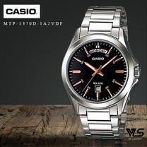 Velashop นาฬิกาผู้ชาย Casio รุ่น MTP-1370D-1A2VDF, MTP-1370D-1A2, MTP-1370D - สีเงิน/หน้าปัดดำ