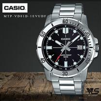 Velashop นาฬิกาผู้ชาย Casio สายสแตนเลส หน้าปัดสีดำ รุ่น MTP-VD01D-1ฺEUVDF, MTP-VD01D-1E , MTP-VD01D