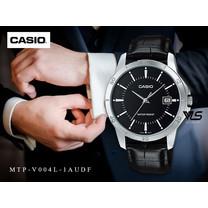 Velashop Casio นาฬิกาข้อมือผู้ชาย สีดำ/หน้าดำ สายหนัง รุ่น MTP-V004L-1AUDF, MTP-V004L-1A