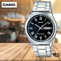 Velashop นาฬิกาข้อมือผู้ชาย Casio สีเงิน/หน้าดำ สายสแตนเลส รุ่น MTP-V006D-1BUDF MTP-V006D-1B MTP-V006D