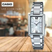 Velashop นาฬิกาผู้หญิง Casio สายสแตนเลส รุ่น LTP-1238D, LTP-1238D-7ADF, LTP-1238D-7A - หน้าปัดเงิน